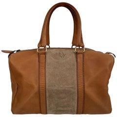 Christian Dior Vintage Beige Leather Duffle Duffel Boston Bag