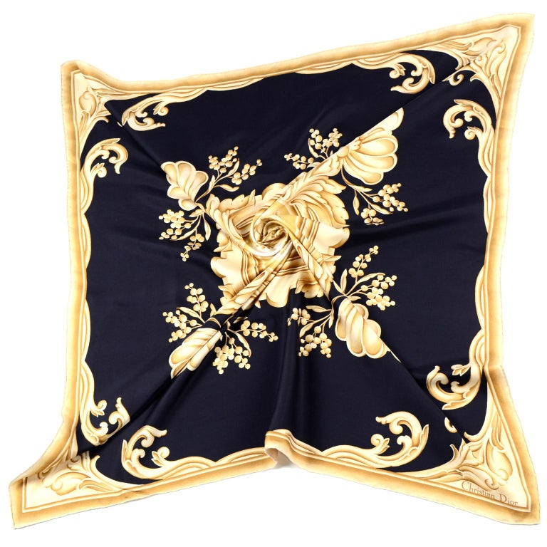 Christian Dior Vintage Black and Gold Silk Ornate Print Scarf In Excellent Condition For Sale In Portland, OR