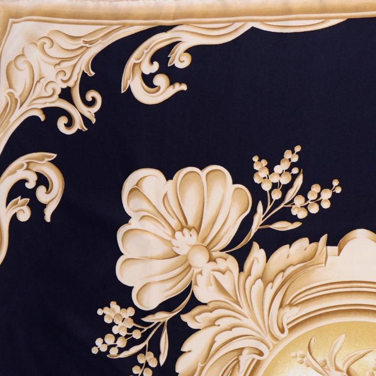 Christian Dior Vintage Black and Gold Silk Ornate Print Scarf For Sale 1