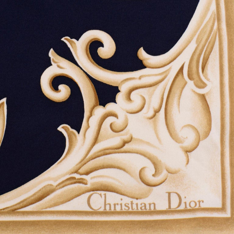 Christian Dior Vintage Black and Gold Silk Ornate Print Scarf For Sale 2