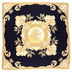 Christian Dior Vintage Black and Gold Silk Ornate Print Scarf