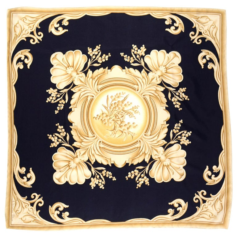 Christian Dior Vintage Black and Gold Silk Ornate Print Scarf For Sale