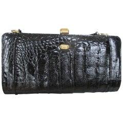 Christian Dior Vintage Black Croco Leather Clutch / Shoulder Bag
