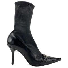 Christian Dior Vintage Black Leather Sock Boots Size 38.5
