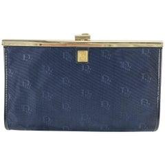 Christian Dior Vintage Blue Logo Canvas Small Clutch Bag Purse