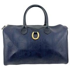 Christian Dior Vintage Blue Monogram Canvas Handbag Boston Bag