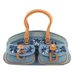 Christian Dior Vintage Bowler Bag Embroidered Denim Medium