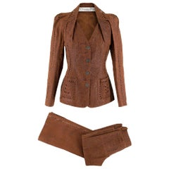 Christian Dior Vintage Brown Laser Cut Pig Skin Suit S