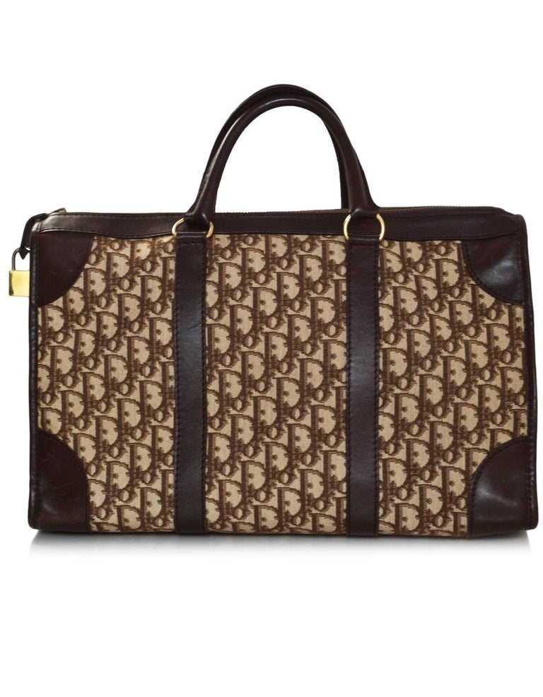 b5d6c289f92 Christian Dior Vintage Brown Monogram Diorissimo Large Top Handle Boston Bag  In Good Condition For Sale