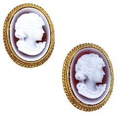 CHRISTIAN DIOR Vintage Cameo Clip-on Earrings