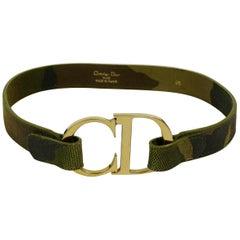 Christian Dior Vintage Camouflage Logo Buckle Belt