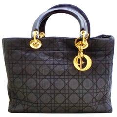 Christian Dior Vintage Cannage  Lady Dior Large  Bag - Black Nylon