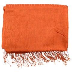 Christian Dior Vintage 'CD' Monogram Orange Silk Scarf