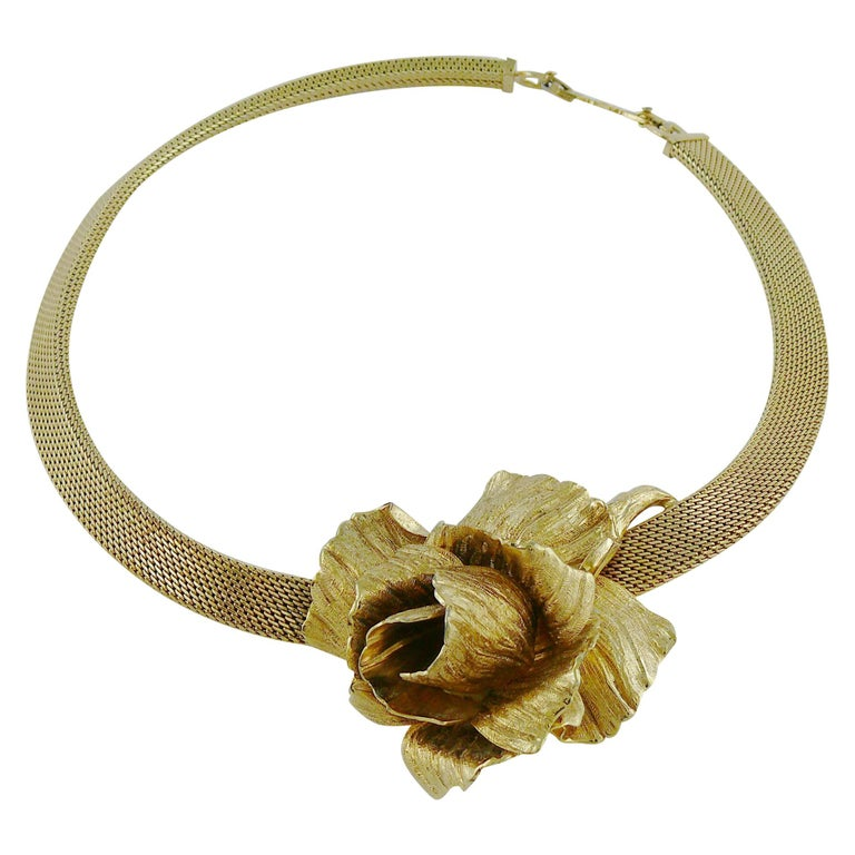 Christian Dior Vintage Collar Necklace with Three Dimensional Textured Rose For Sale