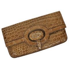Christian Dior Vintage Crocodile Leather Envelope Clutch