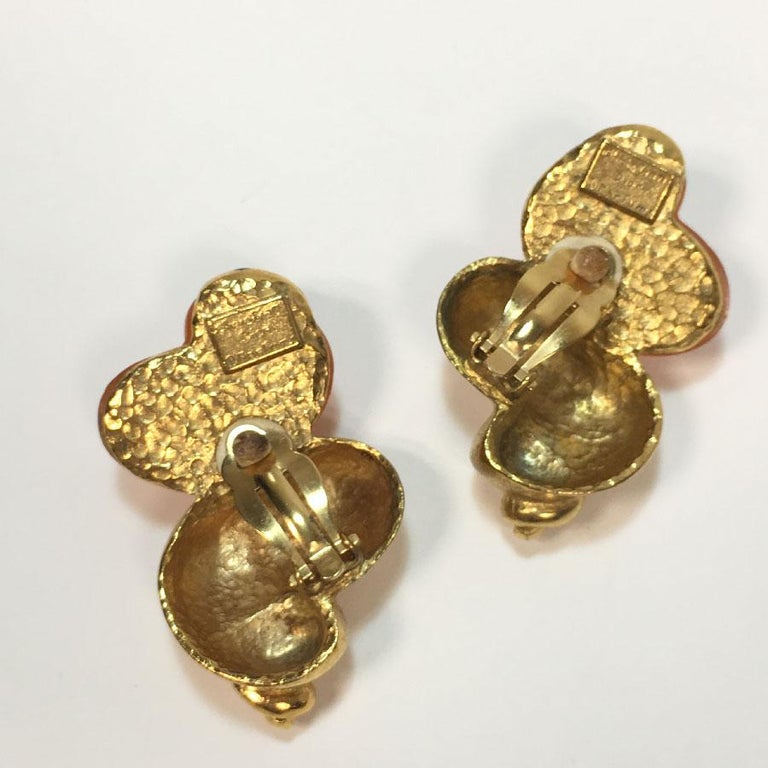 CHRISTIAN DIOR Vintage Earrings By Goossens In Good Condition For Sale In Paris, FR