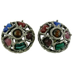 Christian Dior Vintage Faux Hard Stones Domed Clip-On Earrings