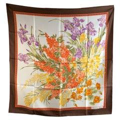 Christian Dior Vintage Floral Design Silk Scarf Brown Border