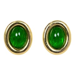 Christian Dior Vintage Gold Clip-On Earrings W/ Green Center
