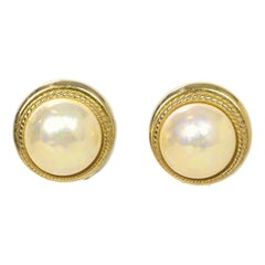 Christian Dior Vintage Gold Faux Pearl Clip On Earrings