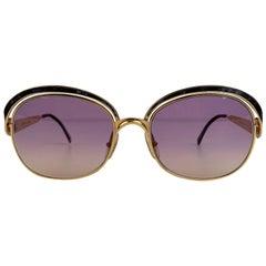 Christian Dior Vintage Gold Metal Sunglasses Marbled Enamel