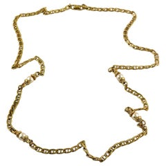 Christian Dior Vintage Gold Tone Navy Link Chain Pearl Necklace