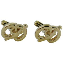 Christian Dior Vintage Gold Toned CD Cufflinks