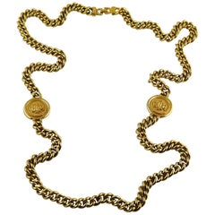 Christian Dior Vintage Gold Toned Logo Medallions Chain Sautoir Necklace