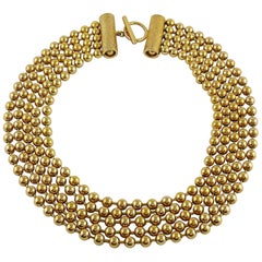 Christian Dior Vintage Gold Toned Pearls Multi Strand Necklace