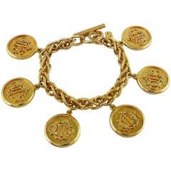 Christian Dior Vintage Gold Toned Signature Coin Charm Bracelet