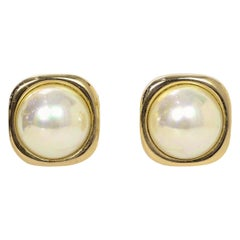 Christian Dior Vintage Goldtone Square Earrings W/ Center Faux Pearl
