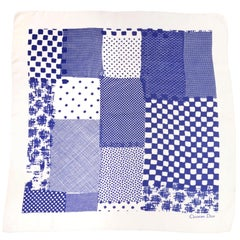 Christian Dior Vintage Indigo Blue and White Patchwork Pattern Silk Scarf