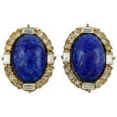 Christian Dior Vintage Jewelled Lapis Lazuli Clip-On Earrings