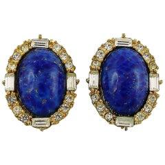 Christian Dior Vintage Jewelled Lapis Lazuli Clip-On Earrings