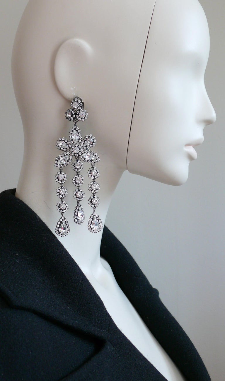 CHRISTIAN DIOR vintage gun patina shoulder duster dangling earrings (clip-on) embellished with clear crystals.  Marked CHR. DIOR GERMANY.  Indicative measurements : height approx. 11.5 cm (4.53 inches) / max. width approx. 3.9 cm (1.54