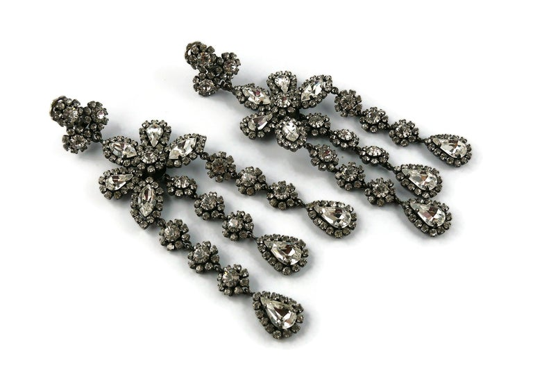 Women's Christian Dior Vintage Jewelled Shoulder Duster Dangling Earrings For Sale