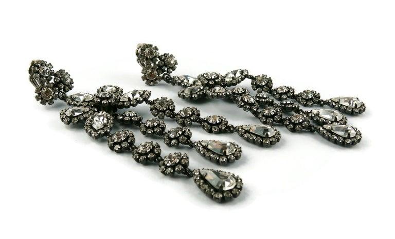Christian Dior Vintage Jewelled Shoulder Duster Dangling Earrings For Sale 1