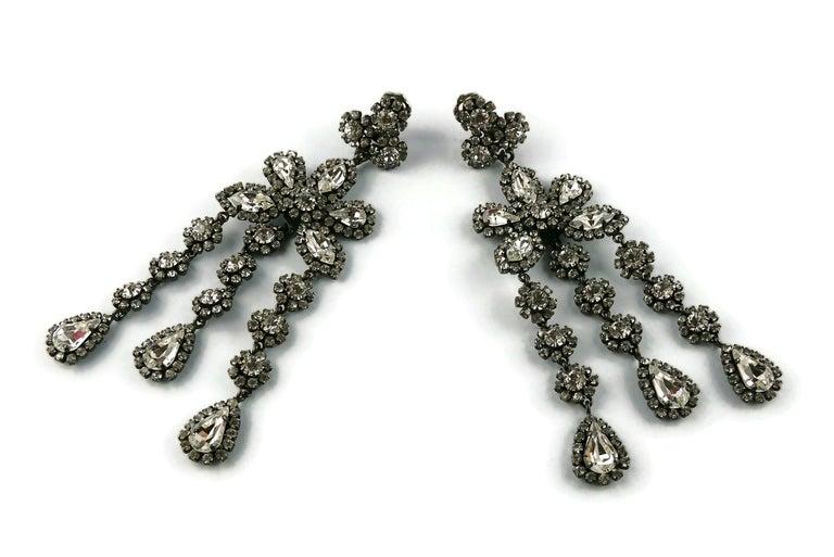 Christian Dior Vintage Jewelled Shoulder Duster Dangling Earrings For Sale 4