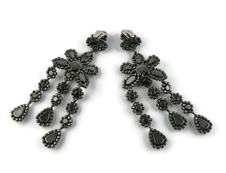 Christian Dior Vintage Jewelled Shoulder Duster Dangling Earrings For Sale 5