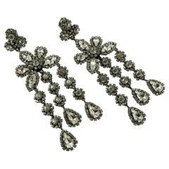 Christian Dior Vintage Jewelled Shoulder Duster Dangling Earrings