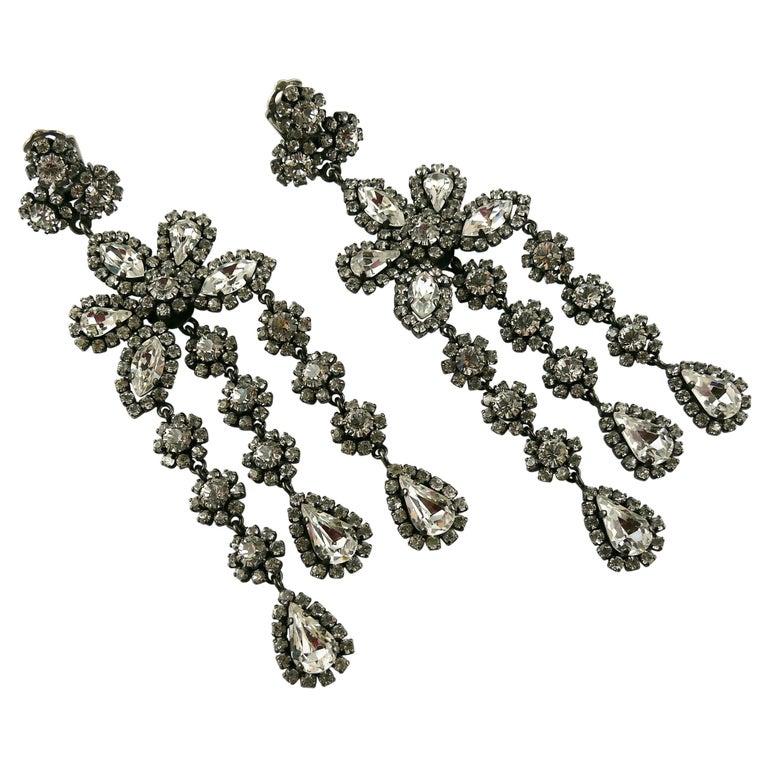 Christian Dior Vintage Jewelled Shoulder Duster Dangling Earrings For Sale