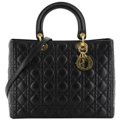Christian Dior Vintage Lady Dior Bag Cannage Quilt Lambskin Large