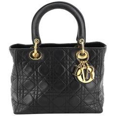 Christian Dior Vintage Lady Dior Bag Cannage Quilt Lambskin Medium