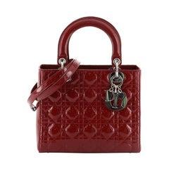 Christian Dior Vintage Lady Dior Bag Cannage Quilt Patent Medium