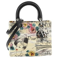 Christian Dior  Vintage Lady Dior Bag Printed Canvas Medium
