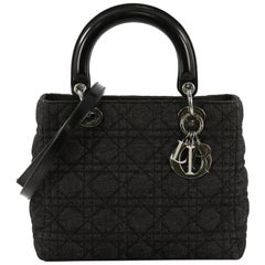 Christian Dior Vintage Lady Dior Handbag Cannage Quilt Denim Medium