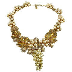 Christian Dior Vintage Leaves and Grape Theme Pearl Crystal Necklace
