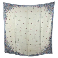 Christian Dior Vintage Light Blue Flowers and Butterflies Silk Scarf