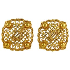 Christian Dior Vintage Massive Gold Toned Openwork Logo Clip-On Earrings
