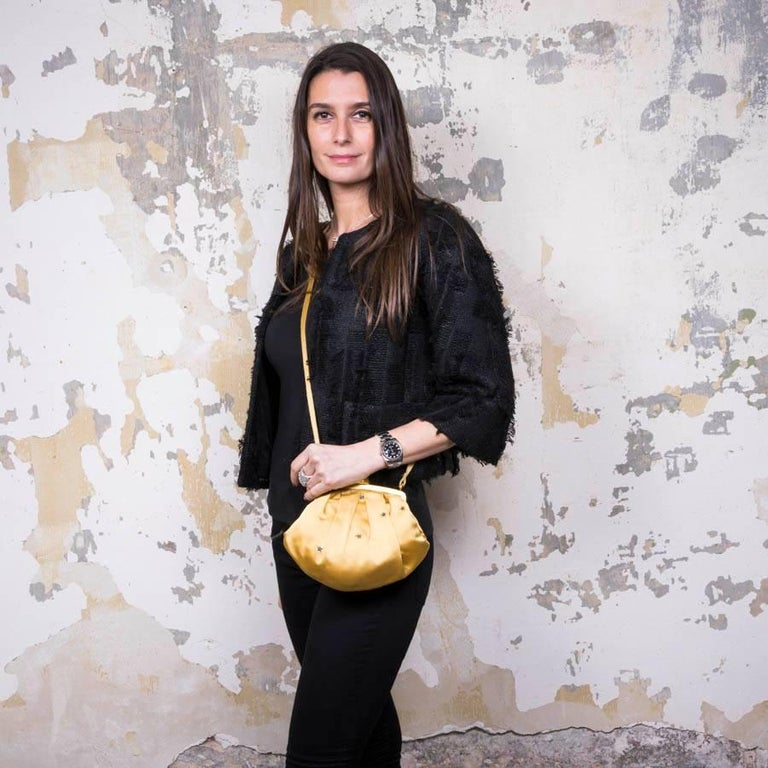 3f0903bb7a07b Christian Dior Boutique vintage mini evening bag in yellow ocher satin  duchess. It is lined